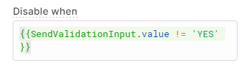 button disabled when validation input does not equal yes