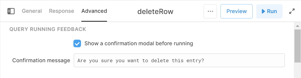 delete row query with confirmation message