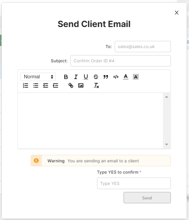 send email modal with a confirmation message and 'type YES to continue' validation