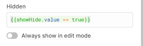 'hidden' value for the containers - hidden when temp state = true