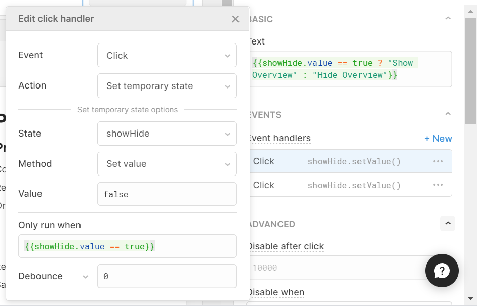 click handler for show/hide button which switches temp state