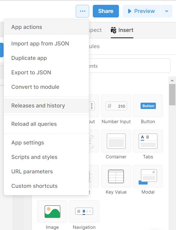 App settings menu in Retool editing environment