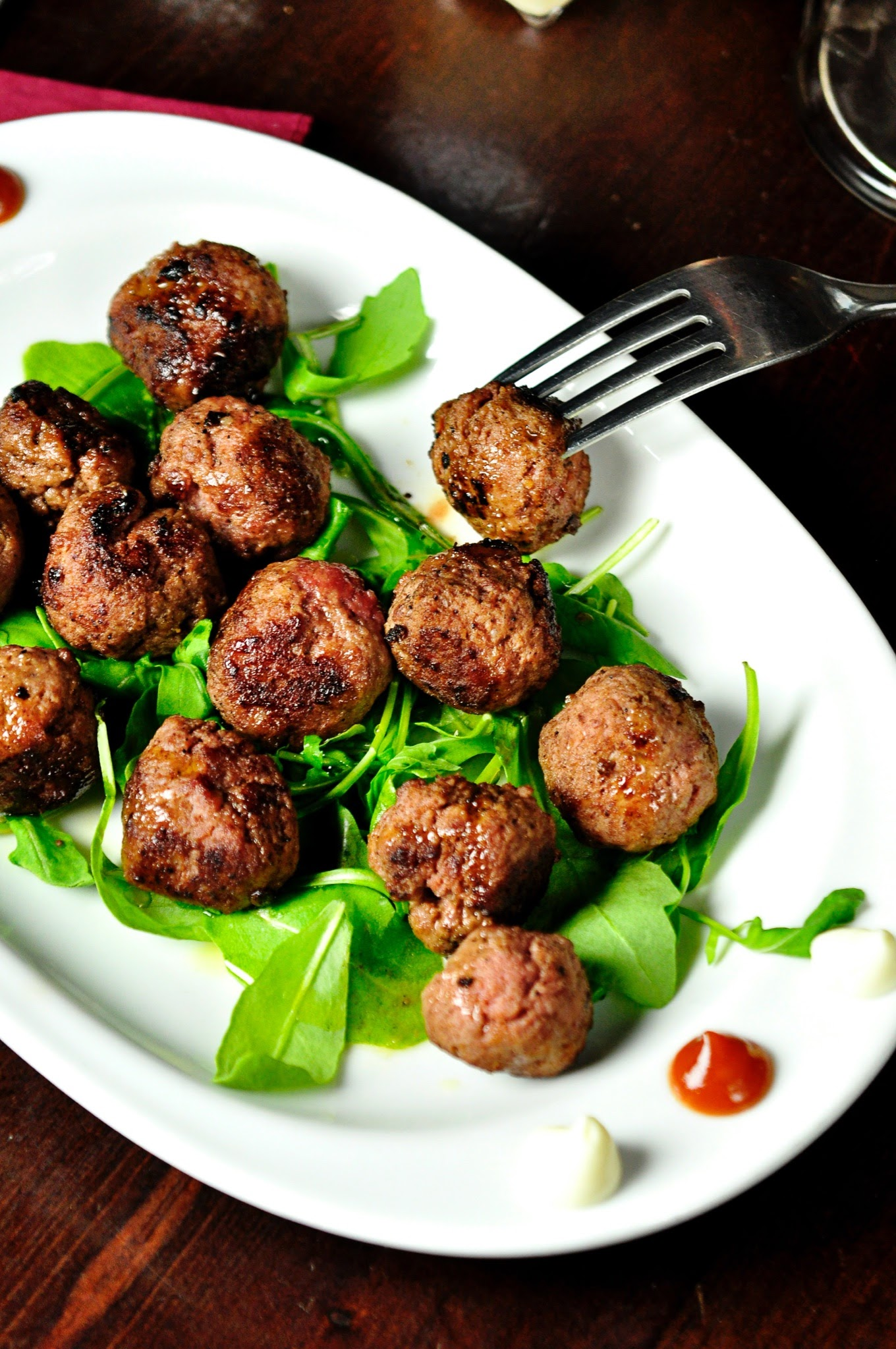 meatballs and leafy greens