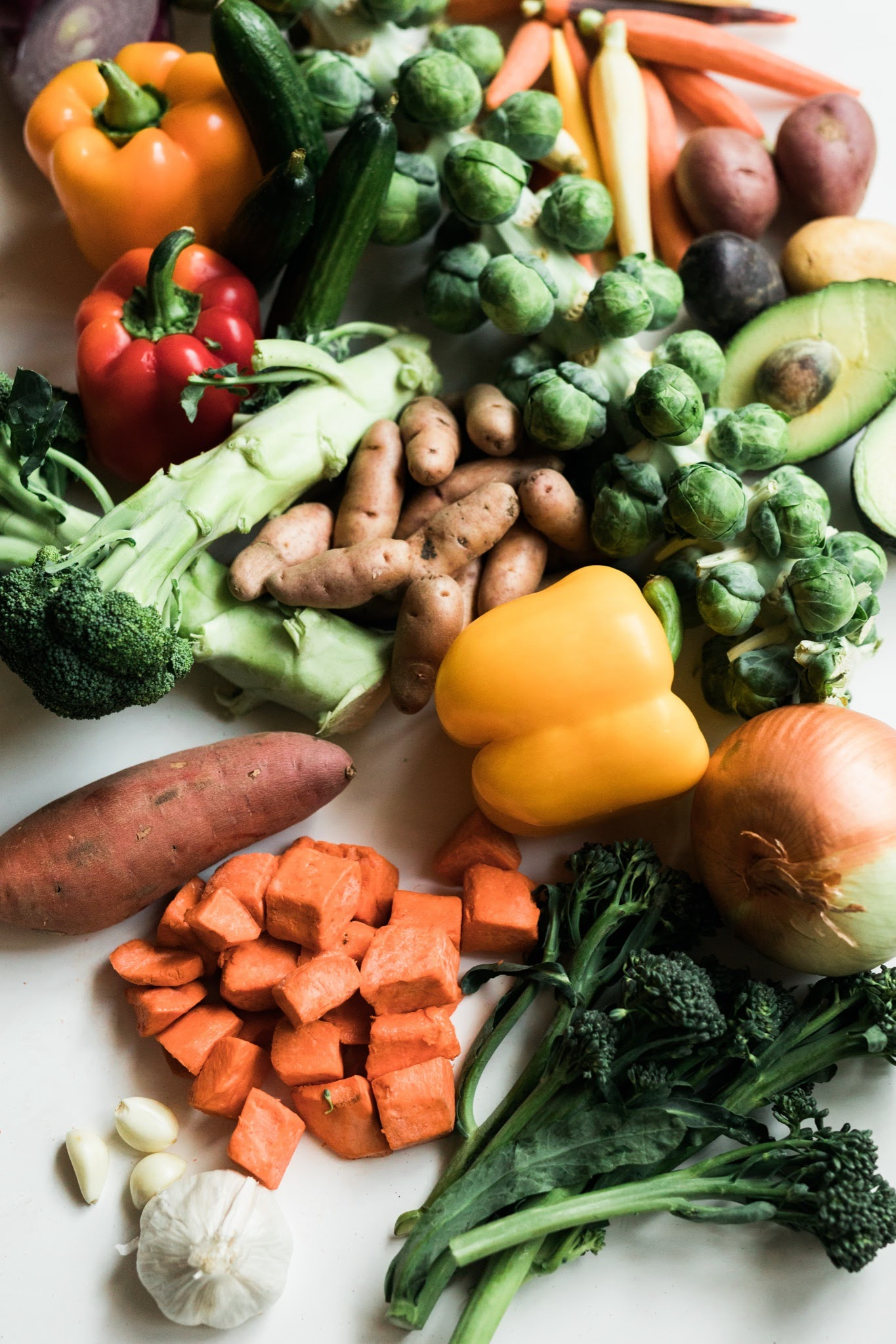 array of vegetables and starches