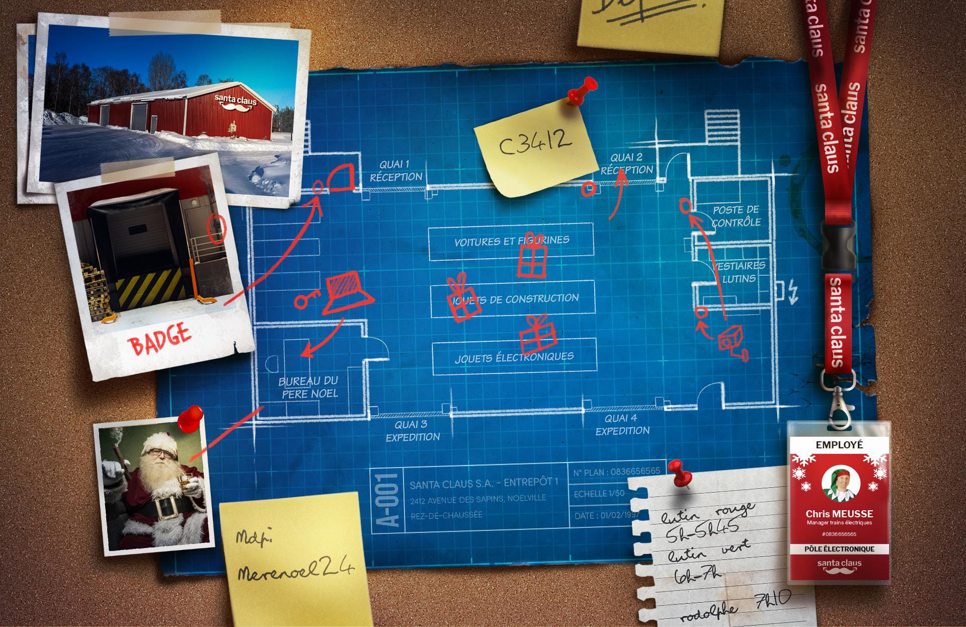Tableau de liège présentant plusieurs indices d'escape game sur un thème braquage