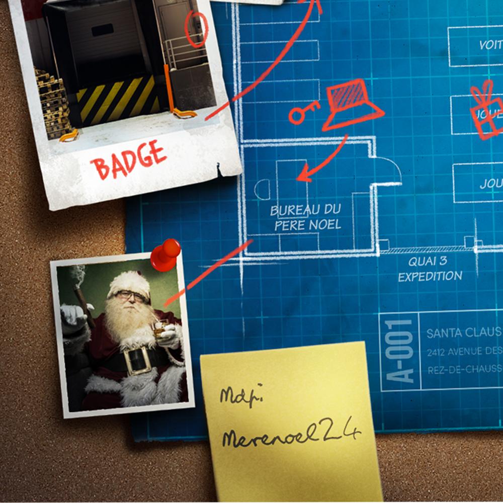 Photomontage de post it, photos et punaises sur le plan d'architecte de l'entrepôt du Père Noël