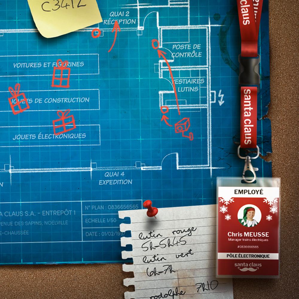 Fausse note manuscrite et plan d'architecte servant d'indice à l'escape game