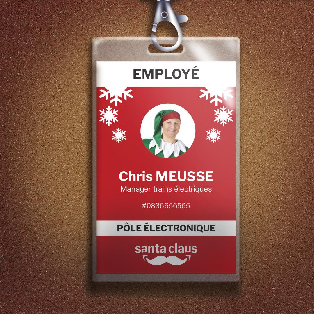 Photomontage d'un badge d'employé d'un lutin du Père Noël servant d'indice pour l'escape game