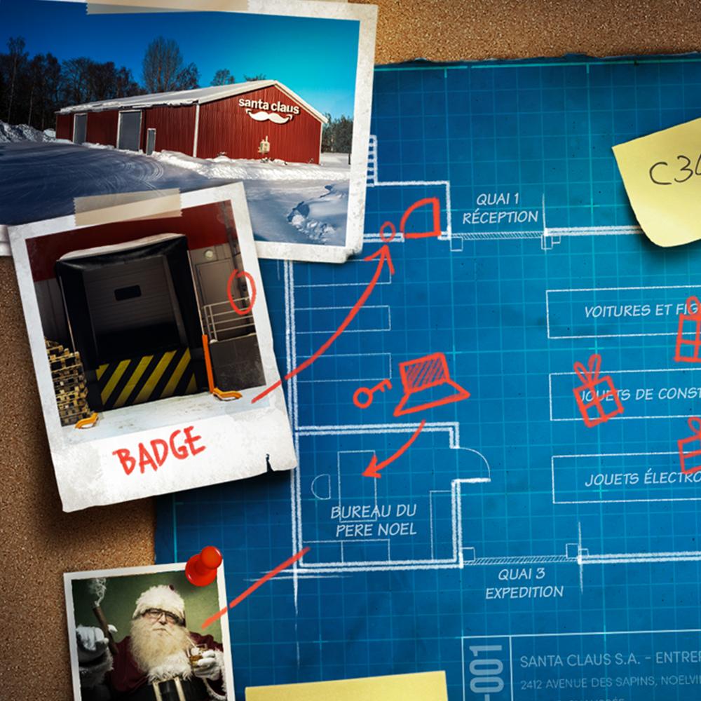 Fausses photographies papier et Polaroïd et leurs annotations pour un escape game à thème braquage