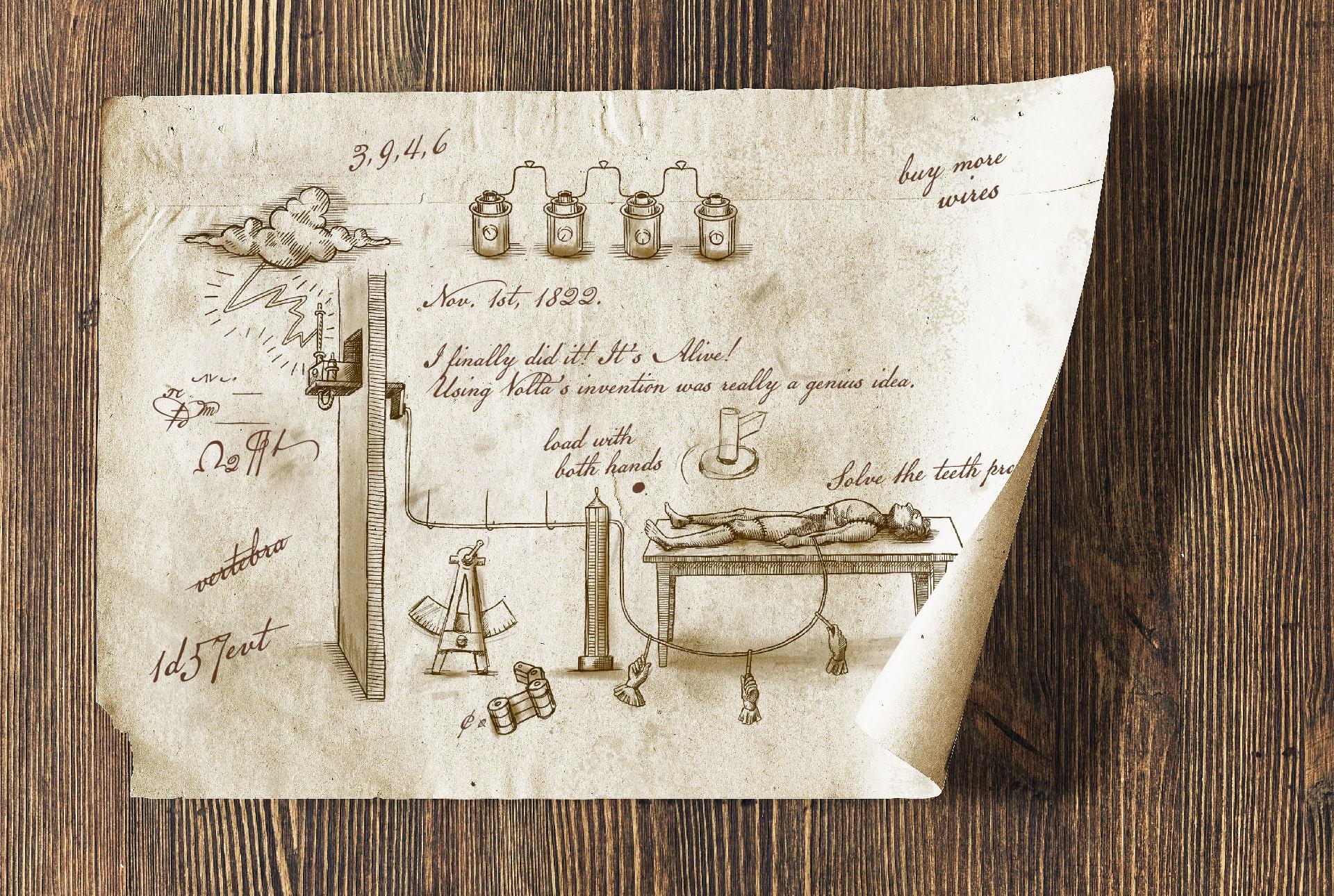 Faux document vieilli rassemblant croquis et annotations dans un style ancien sur le thème du monstre de Frankenstein