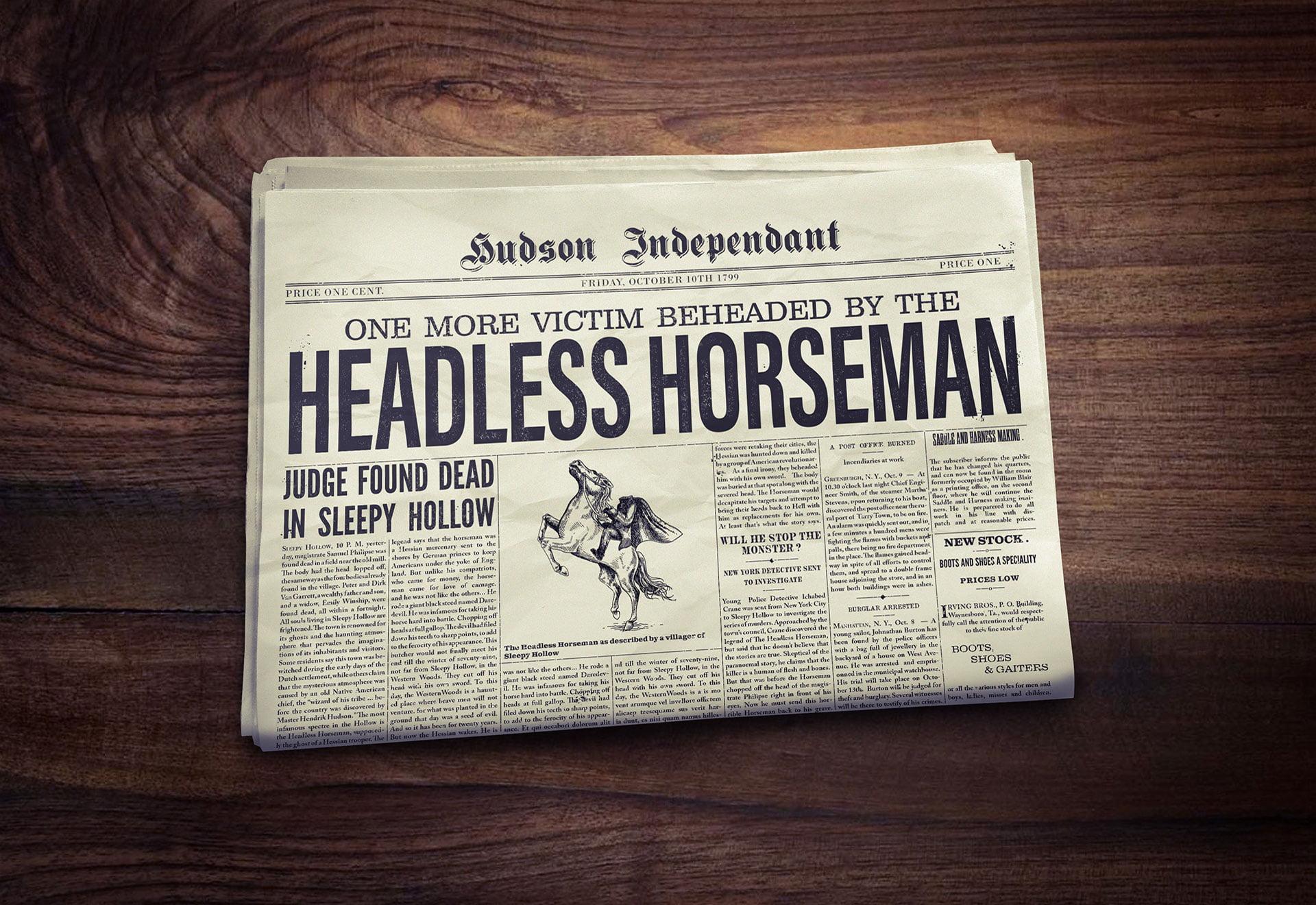 Fausse Une de journal du XIXème siècle dédiée à la légende du Cavalier sans tête (Sleepy Hollow)