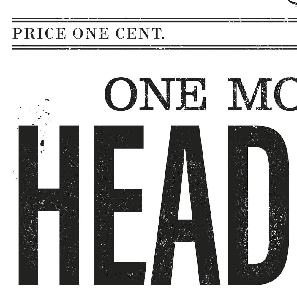 Zoom sur les caractères vieillis du gros titre du journal