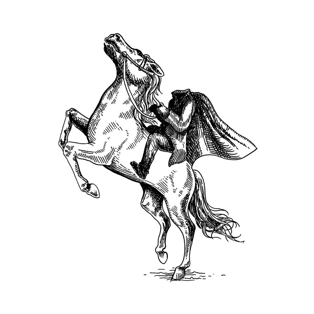 Illustration à la plume du cavalier sans tête