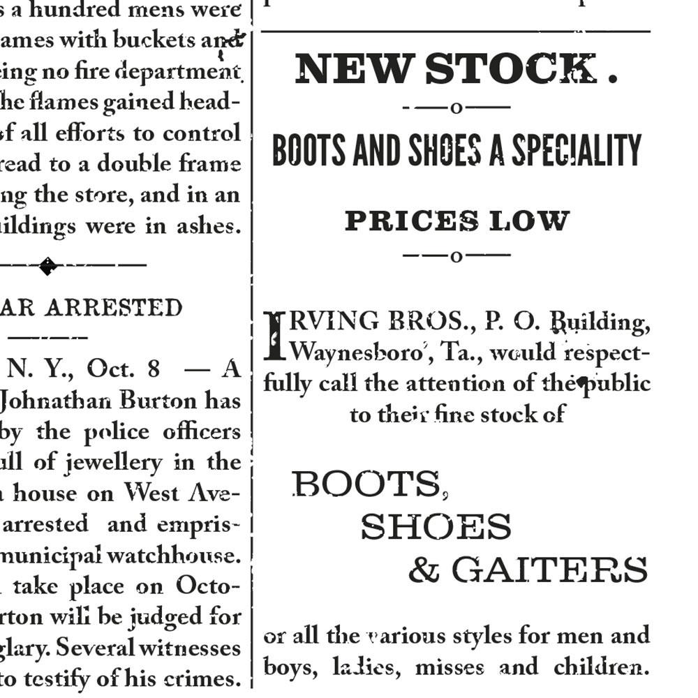 Ensemble de typographies inspirées de journaux du XIXème siècle