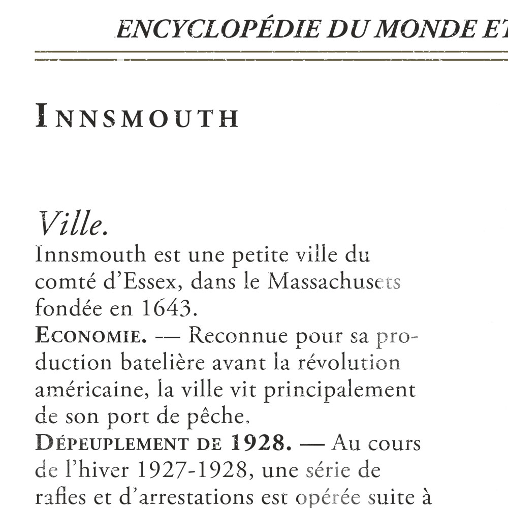 Zoom sur la typographie de la fausse page d'encyclopédie