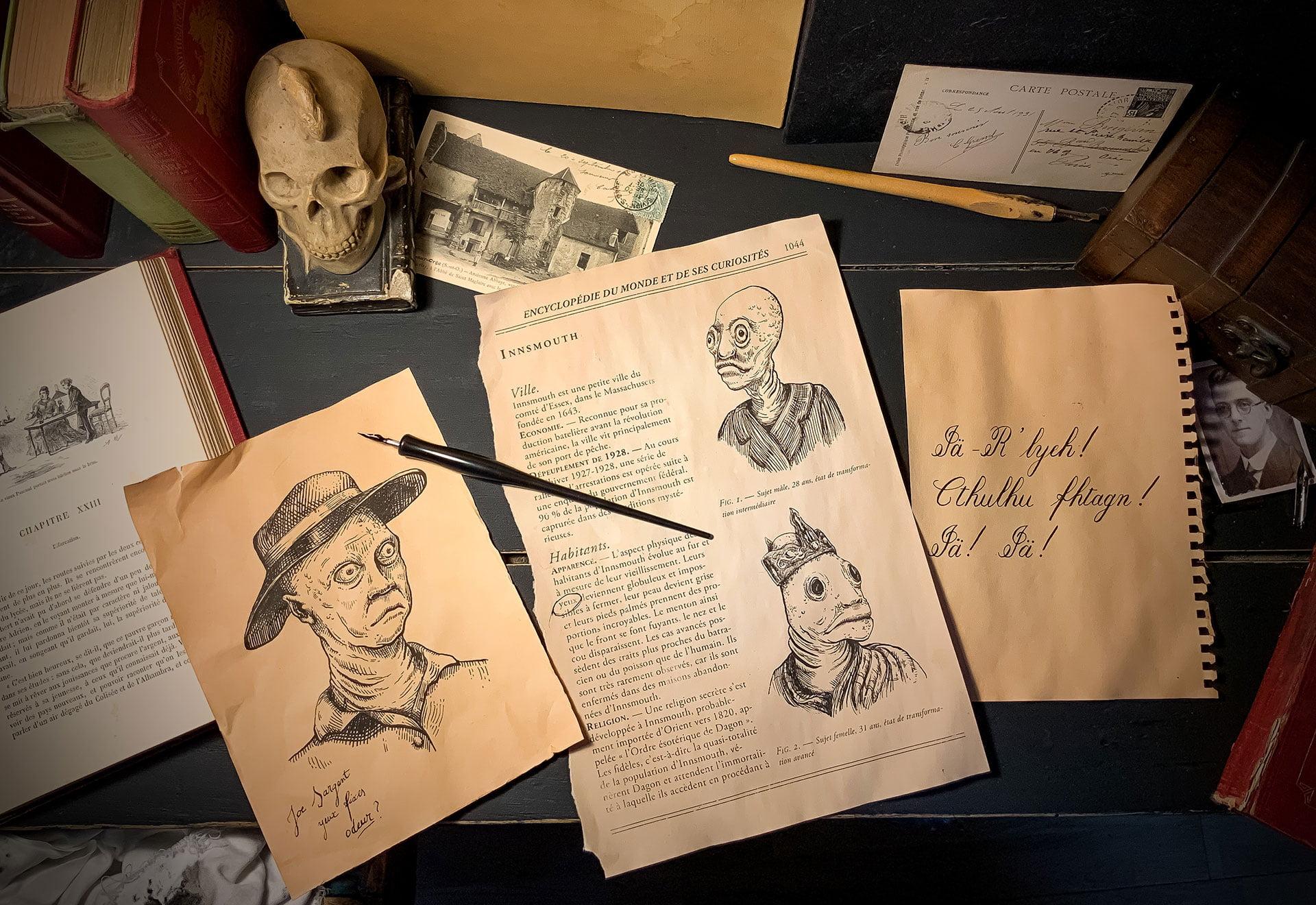 Faux papiers anciens pour un escape game sur le thème de l'oeuvre de Lovecraft