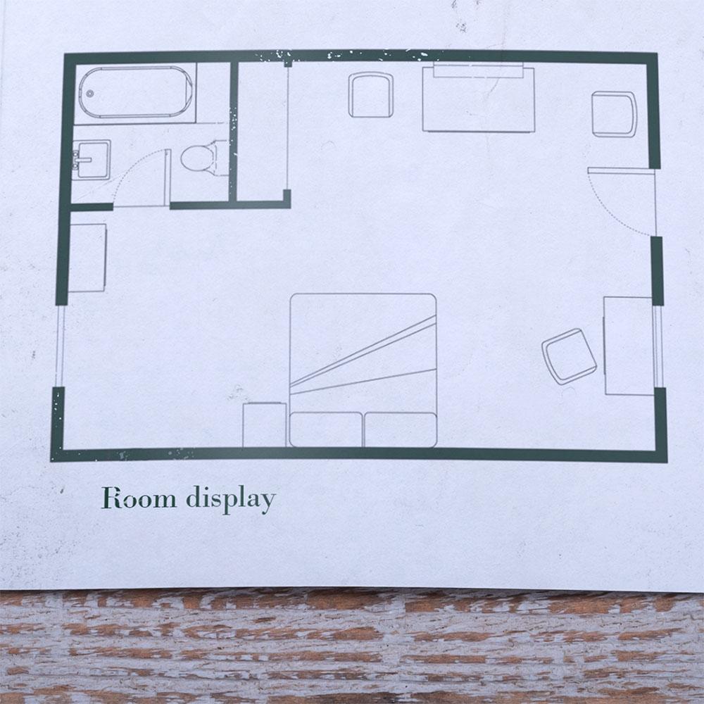 Zoom sur le plan de la chambre de motel créé d'après les scènes du film d'Hitchcock