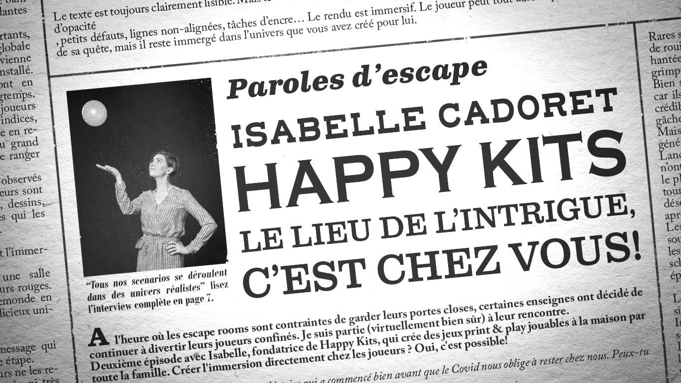 Photo de Isabelle Cadoret et titre de l'interview mis en page comme un journal