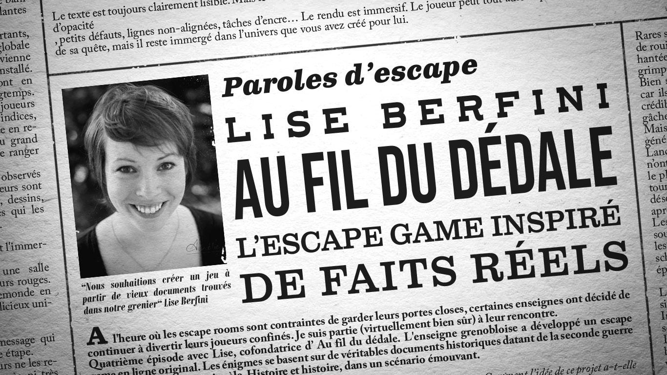 Photo de Lise Berfini et titre de l'interview mis en page comme un journal