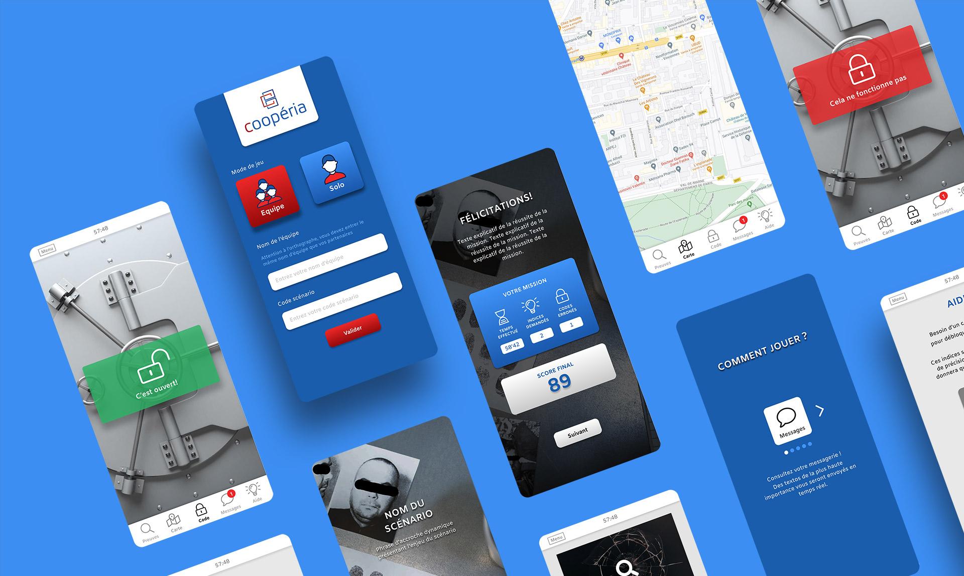 Présentation du design de l'application mobile Coopéria
