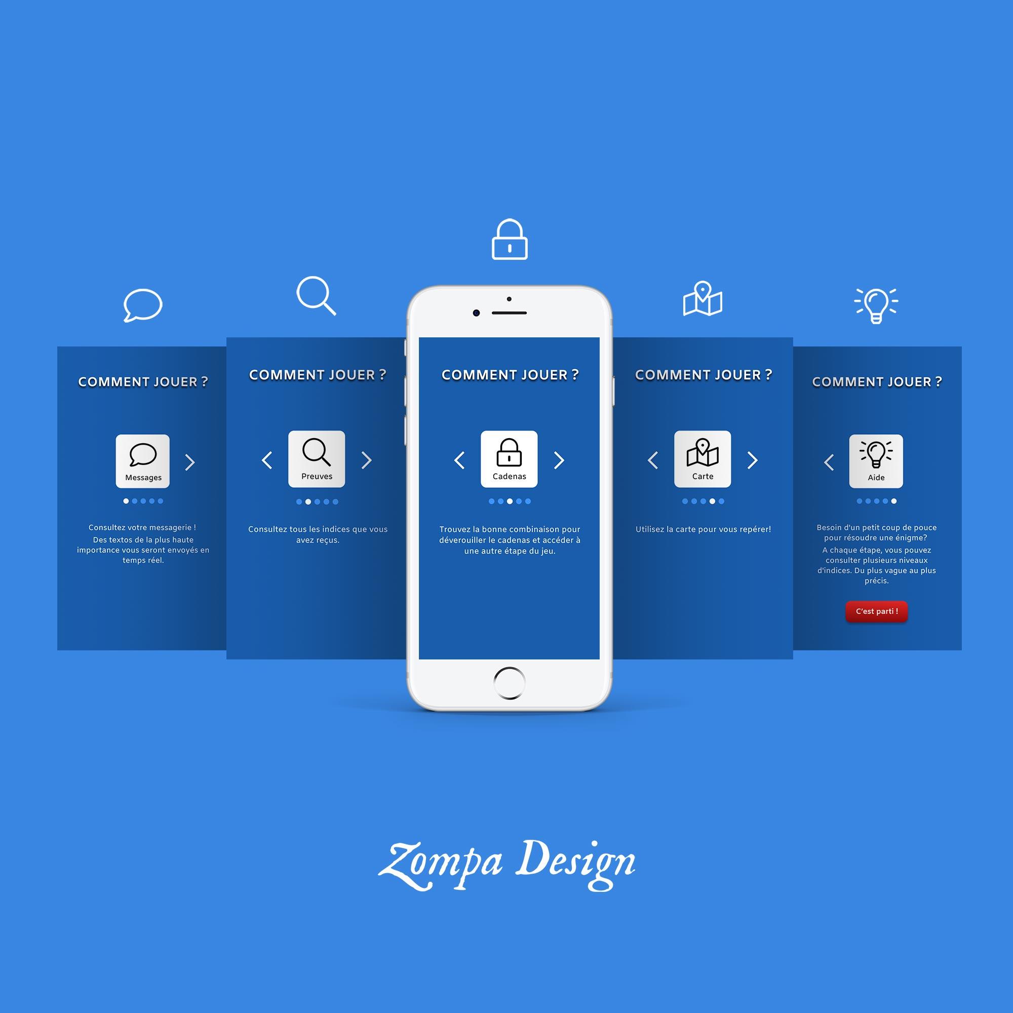 Design du tutoriel de l'application mobile d'escape game