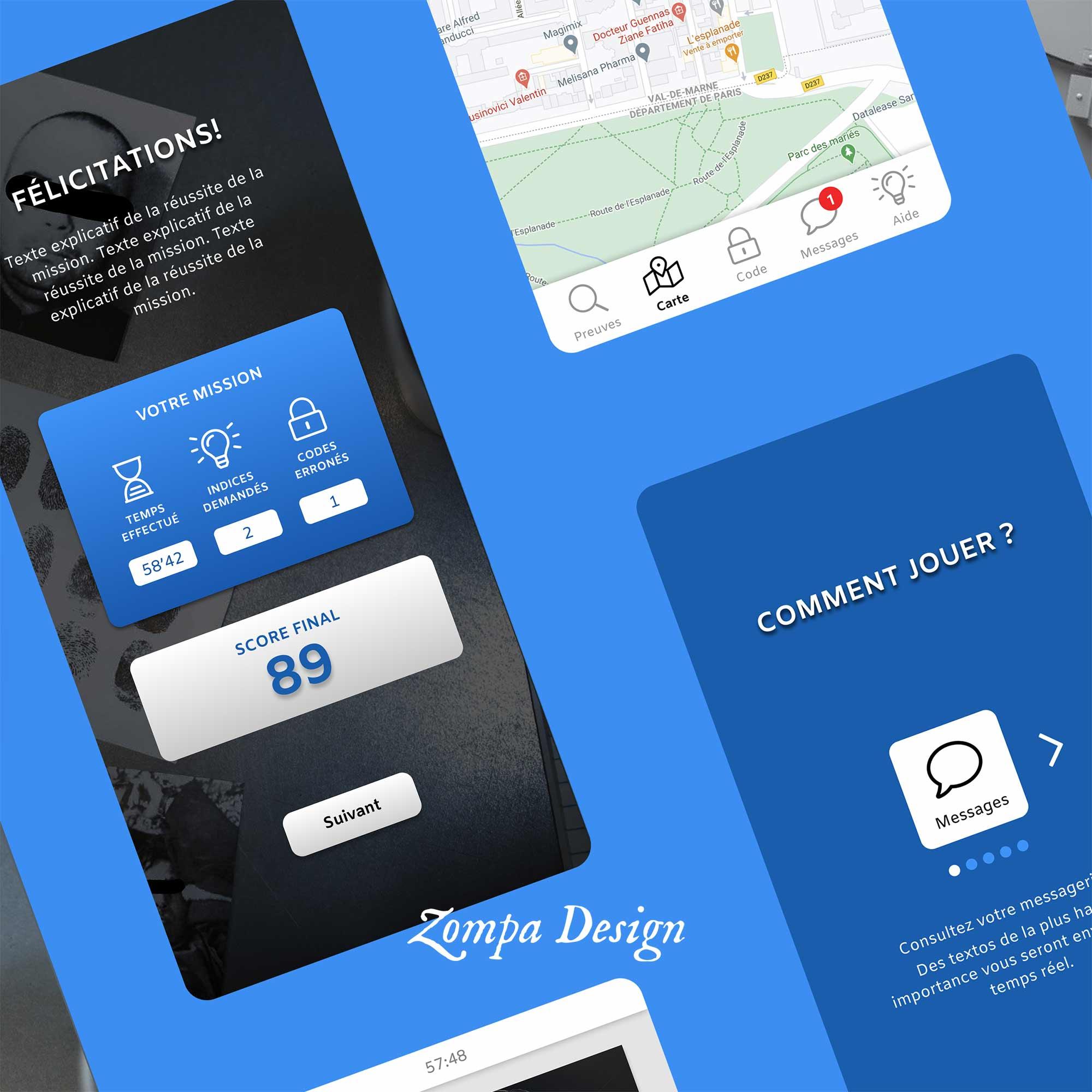 UX design application mobile d'escape game , page de score
