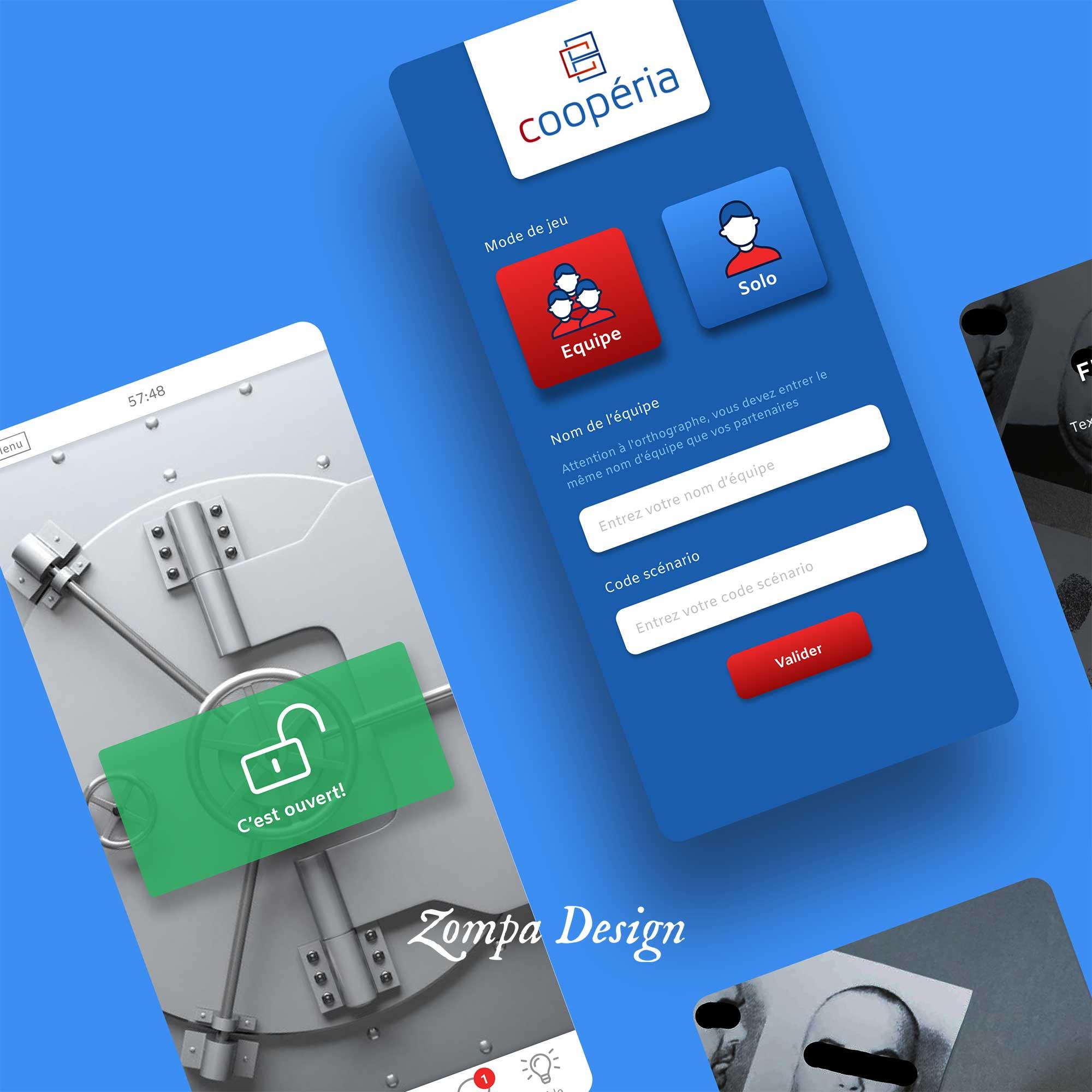 UX design application mobile d'escape game , page d'accueil et page cadenas