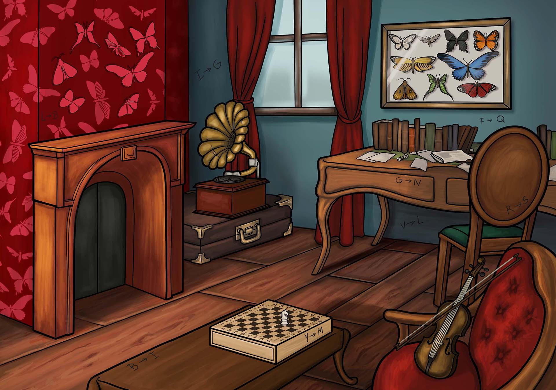 Illustration du bureau de Sherlock Holmes par Zompa Design, graphiste escape games.