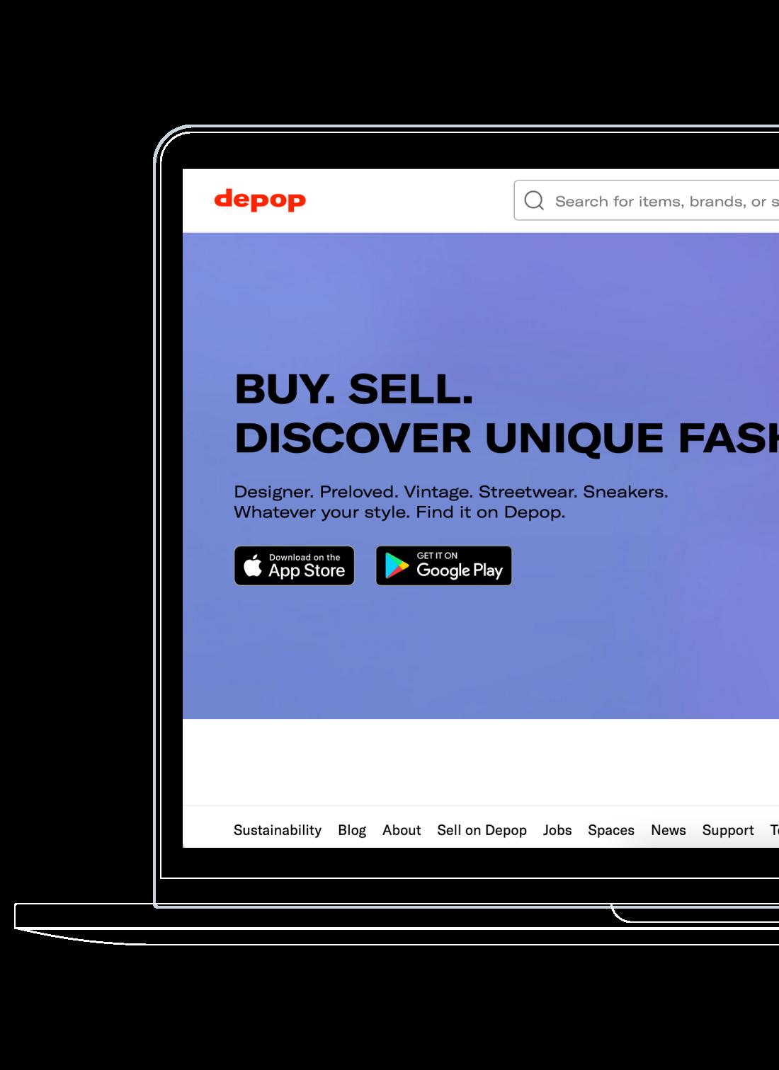 Homepage of Depop mobile app screen.