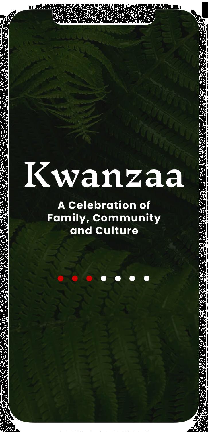 Homepage of Kwanzaa mobile app screen.