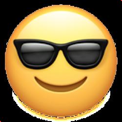 A cool guy smirking with glasses emoji