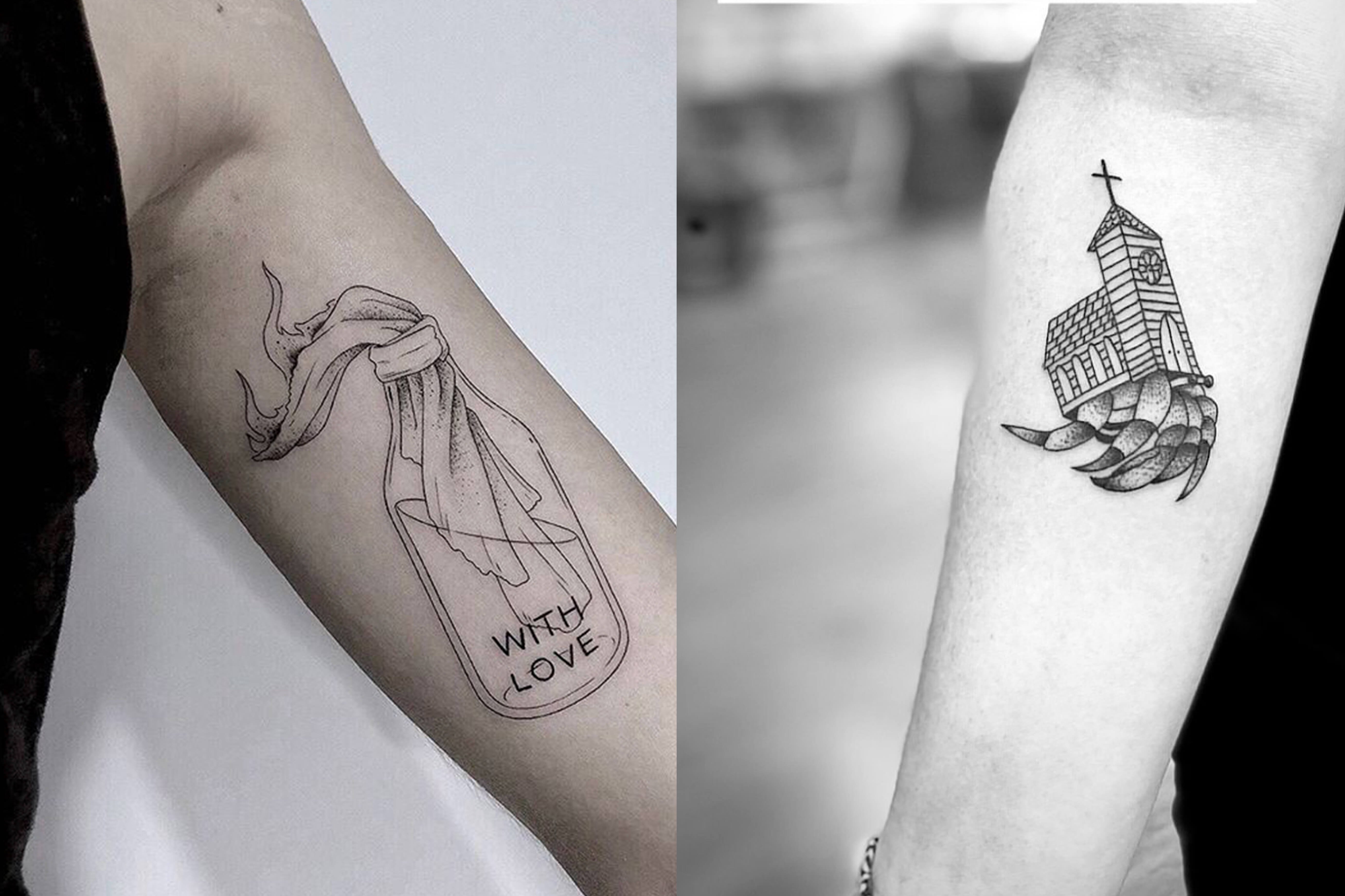 Bottle With Love Tattoo on arm and Hermit Crab tattoo on arm, both designs by Scott Erickson.