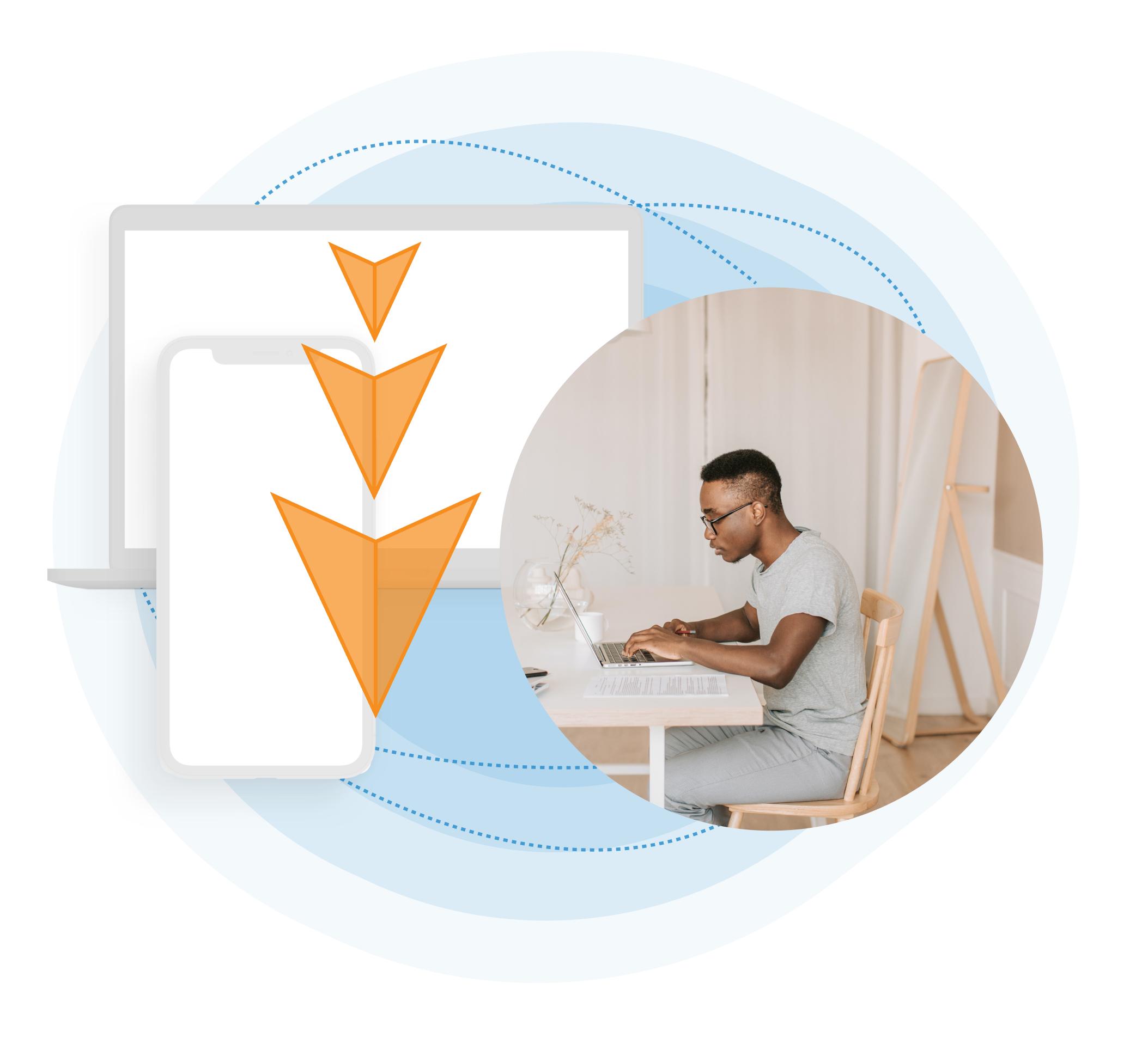 Image of man sitting at desk overlaying laptop graphic