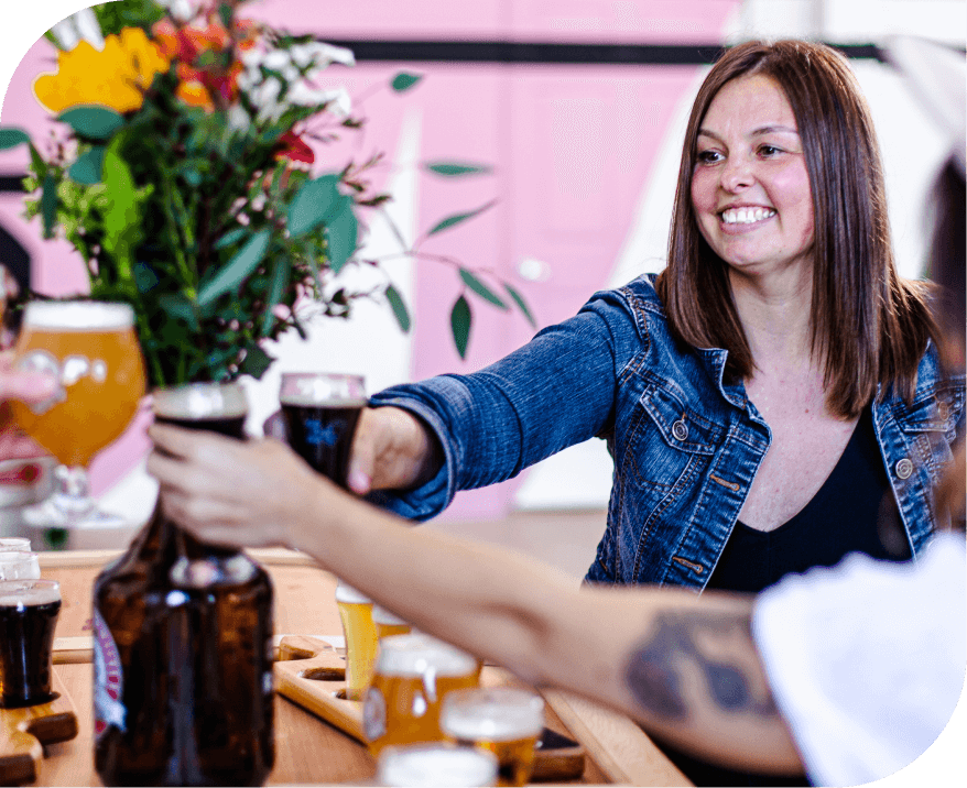woman getting a beer