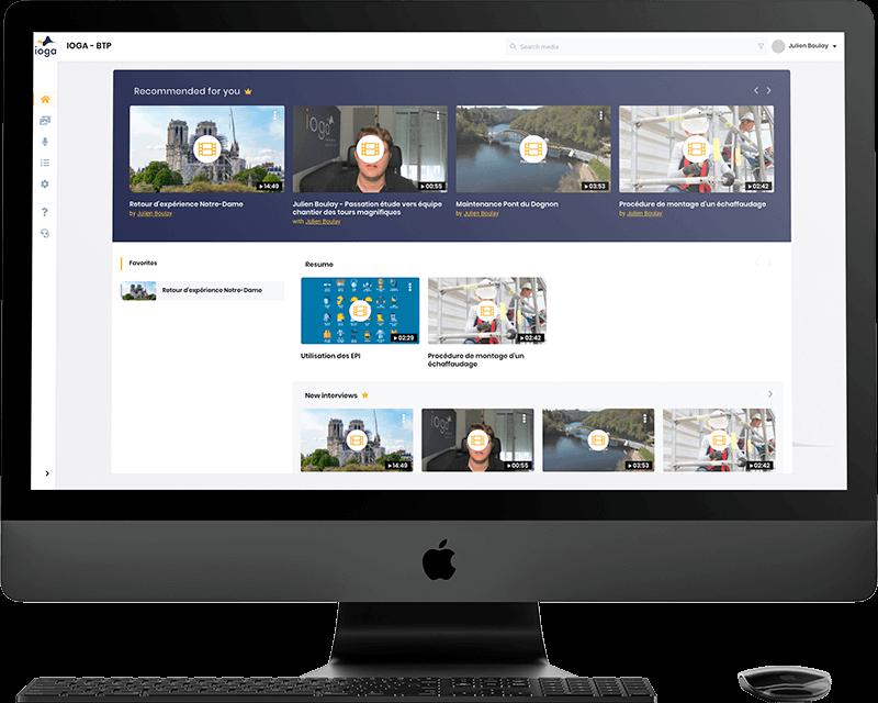 Capture d'écran de la plateforme de knowledge management Ioga