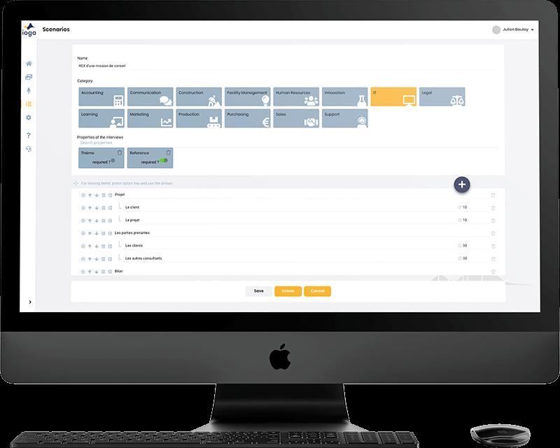 Capture d'écran de la plateforme de partage collaboratif de connaissances Ioga
