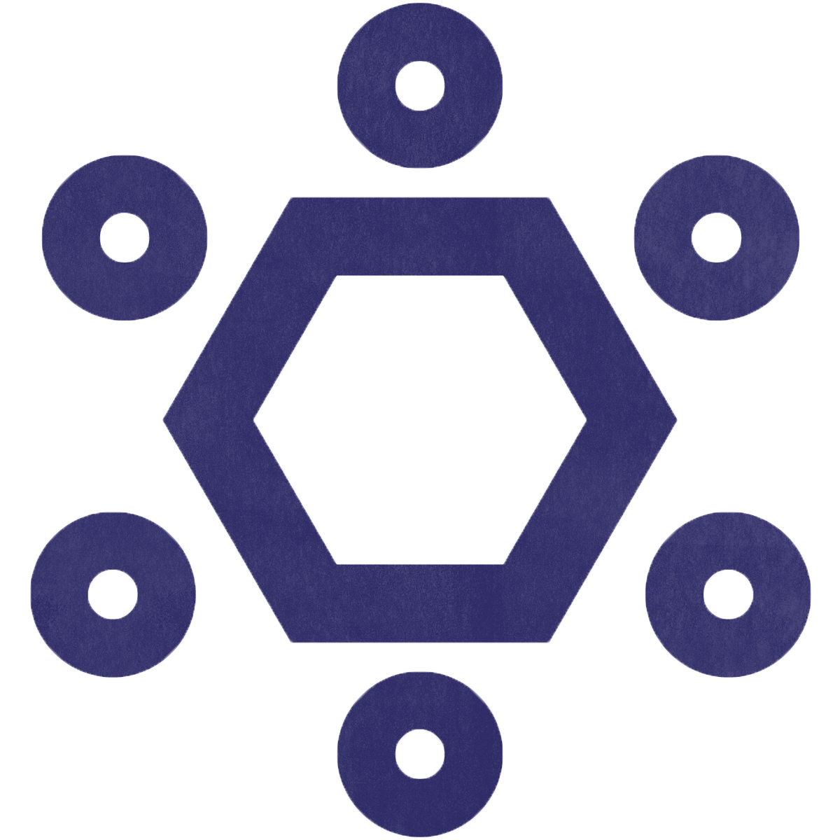 A purple hexagon with circles on each side showing teamwork as a core value.