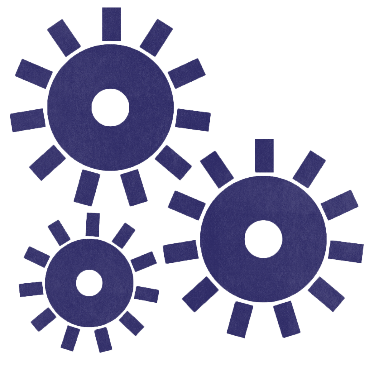 Three purple gears showing innovation as a core value.