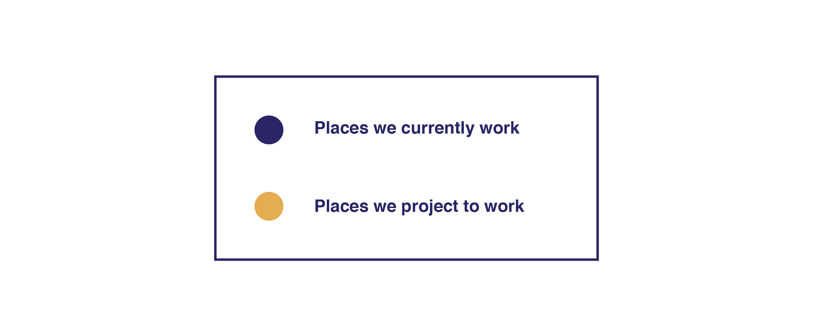 A key showing that a purple dot means GLDev is working in the city and a gold dot means GLDev projects to work in that city.