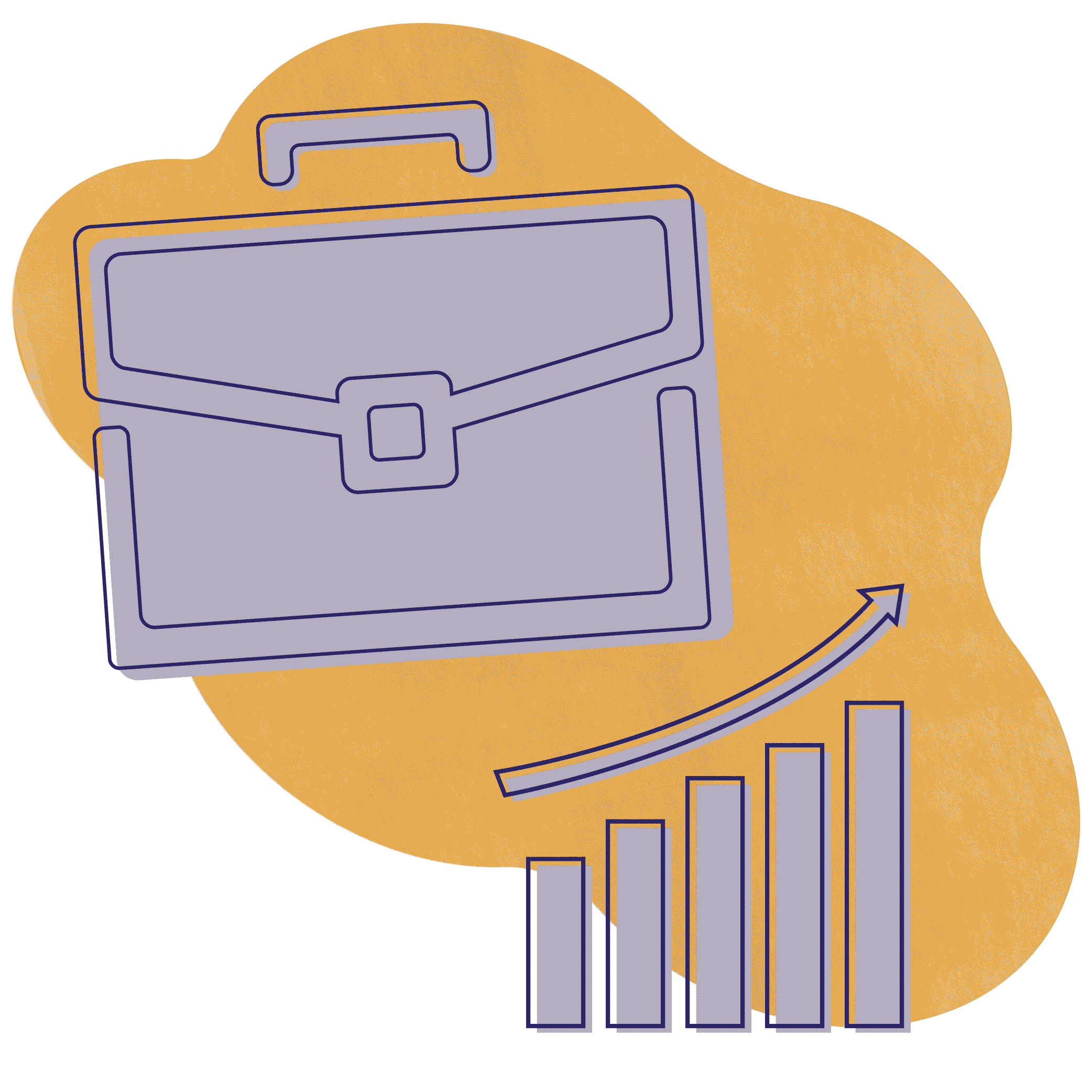 An illustration of business people showing a purple briefcase and a purple bar chart over a gold textured shape.