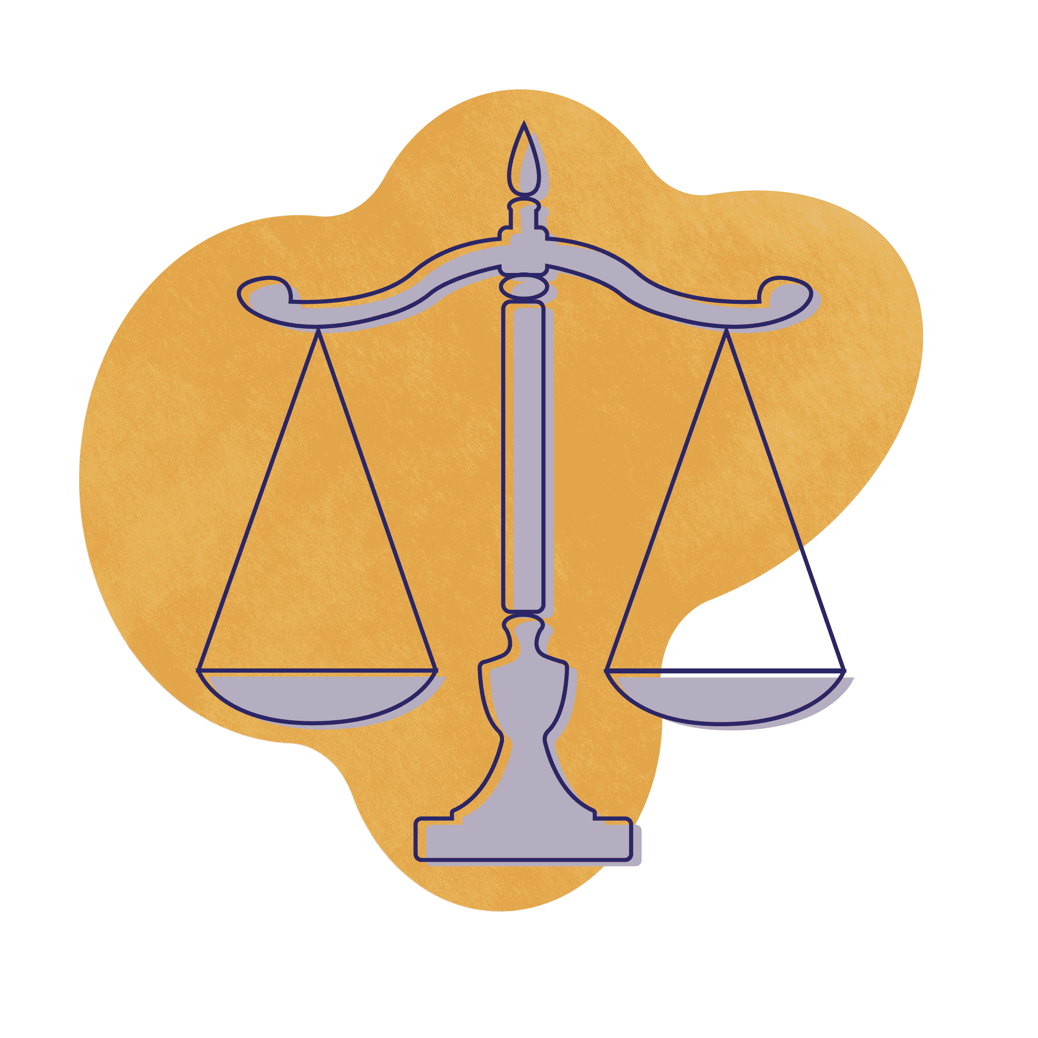 An illustration of lawyers showing a purple justice scale over a gold textured shape.