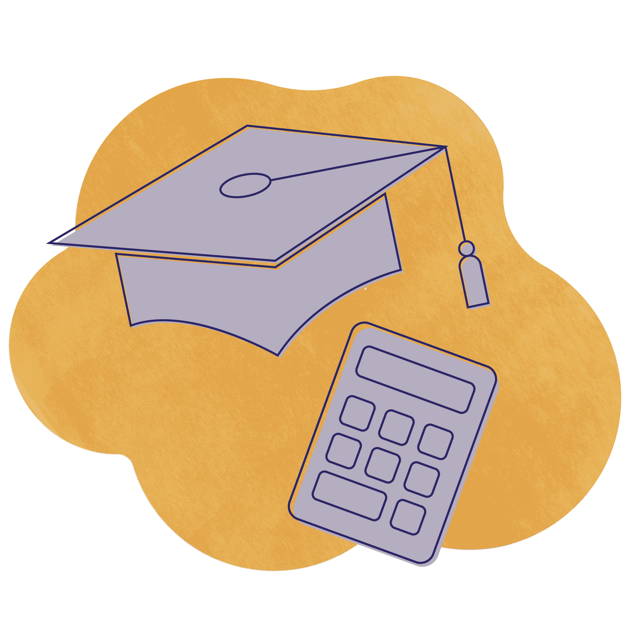 An illustration of teachers and accountants showing a purple graduation cap and a purple calculator over a gold textured shape.
