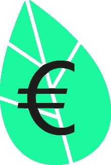Euro Symbol vor grünem Blatt.