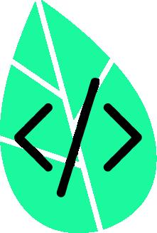 Coding Symbol vor grünem Blatt.