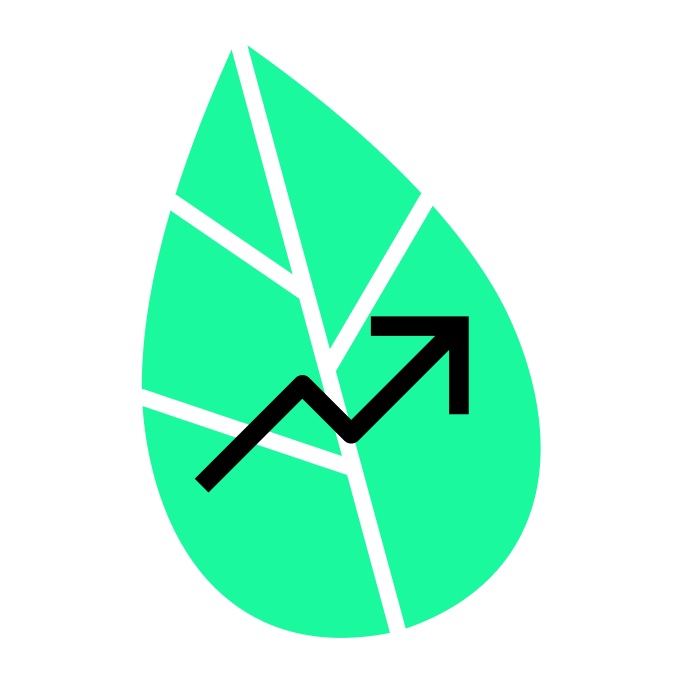 Steigender Pfeil vor grünem Blatt.