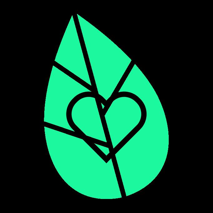Herz vor grünem Blatt.
