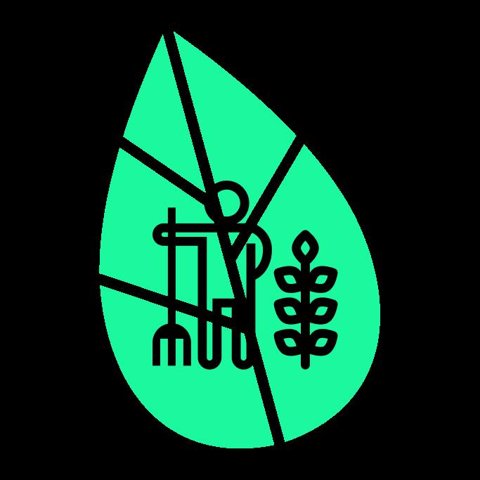 Person mit Harke und Pflanze vor grünem Blatt.