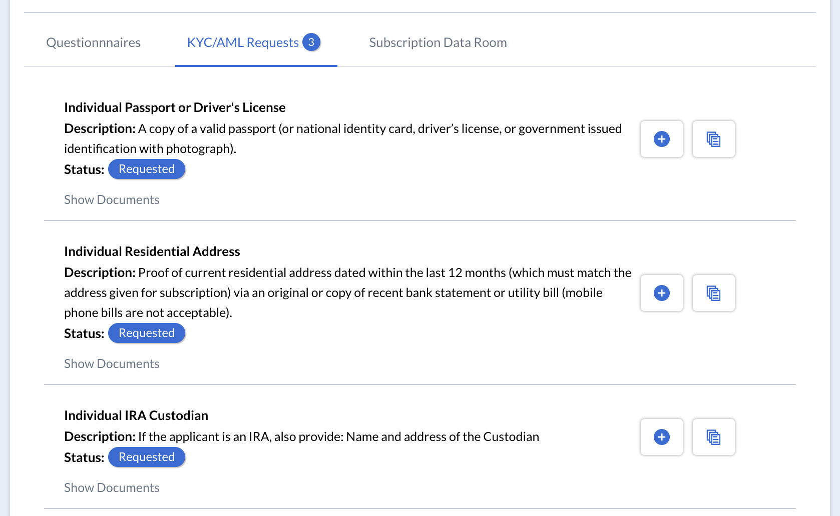 Investors securely upload their KYC and AML documents