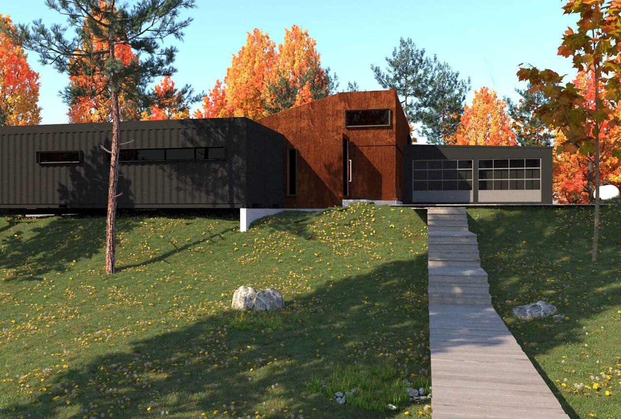 Shipping Container House in the Woods