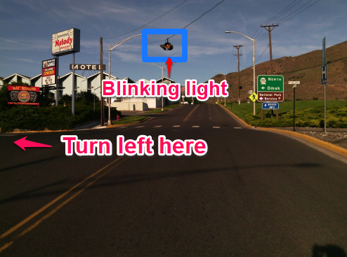 Blinking light at intersection